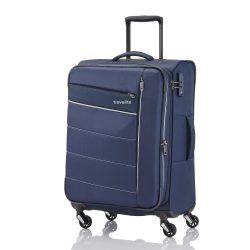 Travelite KITE M kék négykerekű bővíthető közepes bőrönd