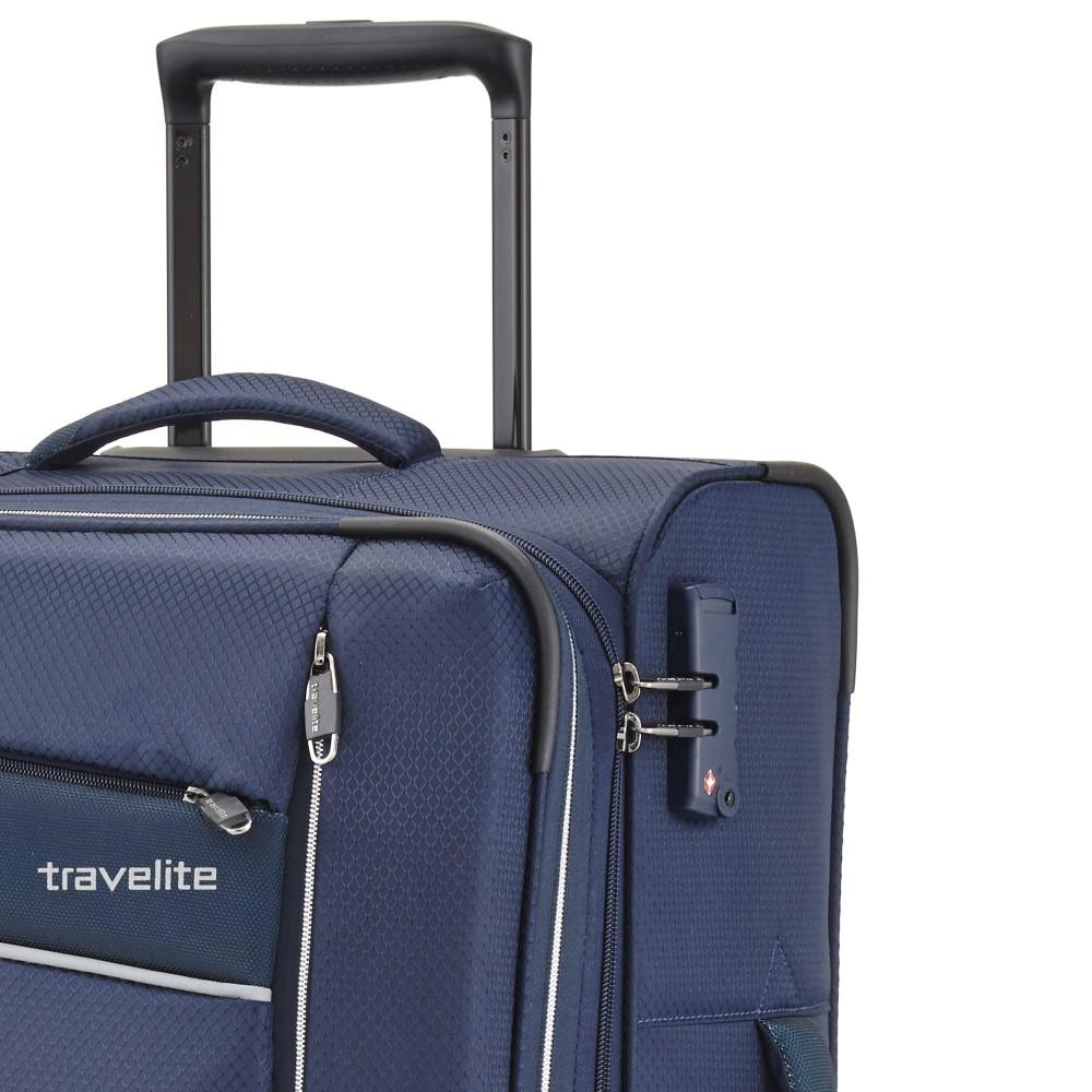 Travelite KITE M kék négykerekű bővíthető közepes bőrönd ... d33a786750