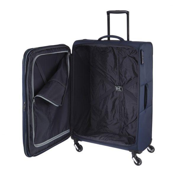 Travelite KITE L kék négykerekű bővíthető nagy bőrönd