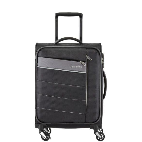 Travelite KITE S fekete négykerekű kis kabin bőrönd