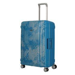 TRAVELITE Sonic M kék 4 kerekű csatos közepes bőrönd