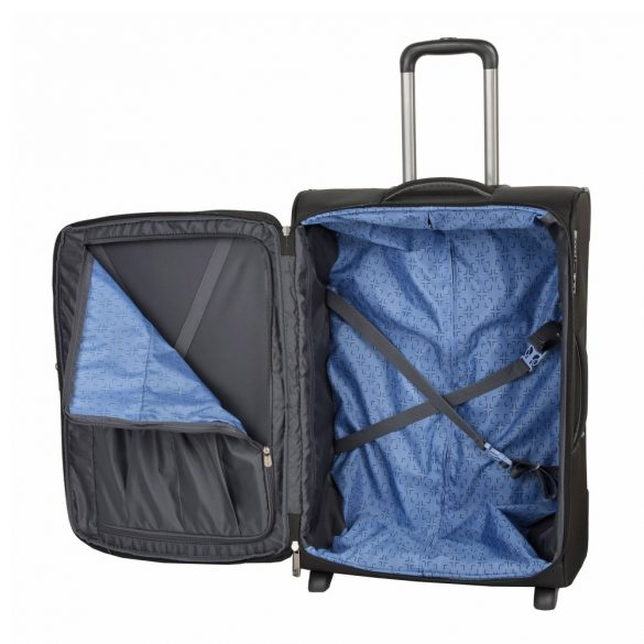 Bőrönd TRAVELITE Capri L fekete 2 kerekű bővíthető nagy méret