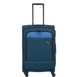 Bőrönd TRAVELITE Derby M kék 4 kerekű bővíthető közepes bőrönd