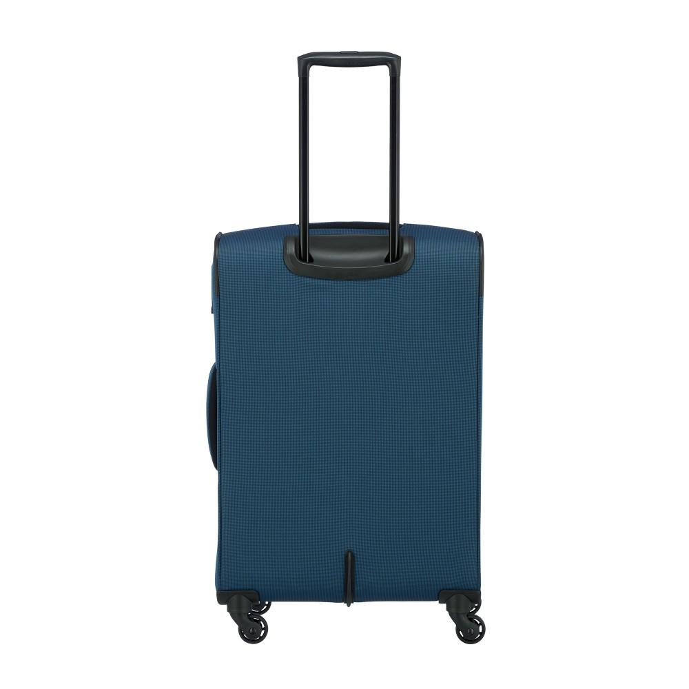 Travelite DERBY M kék négykerekű bővíthető közepes bőrönd ... 0e9d1007c3