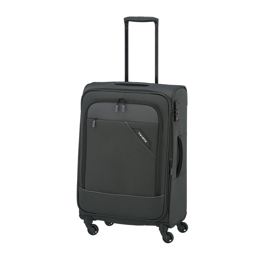 Travelite DERBY M antracit négykerekű bővíthető közepes bőrönd ... edf9abce2f
