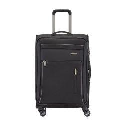 Travelite CAPRI M fekete 4 kerekű bővíthető közepes bőrönd