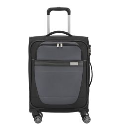 Bőrönd TRAVELITE Meteor S fekete-szürke 4 kerekű kabin bőrönd