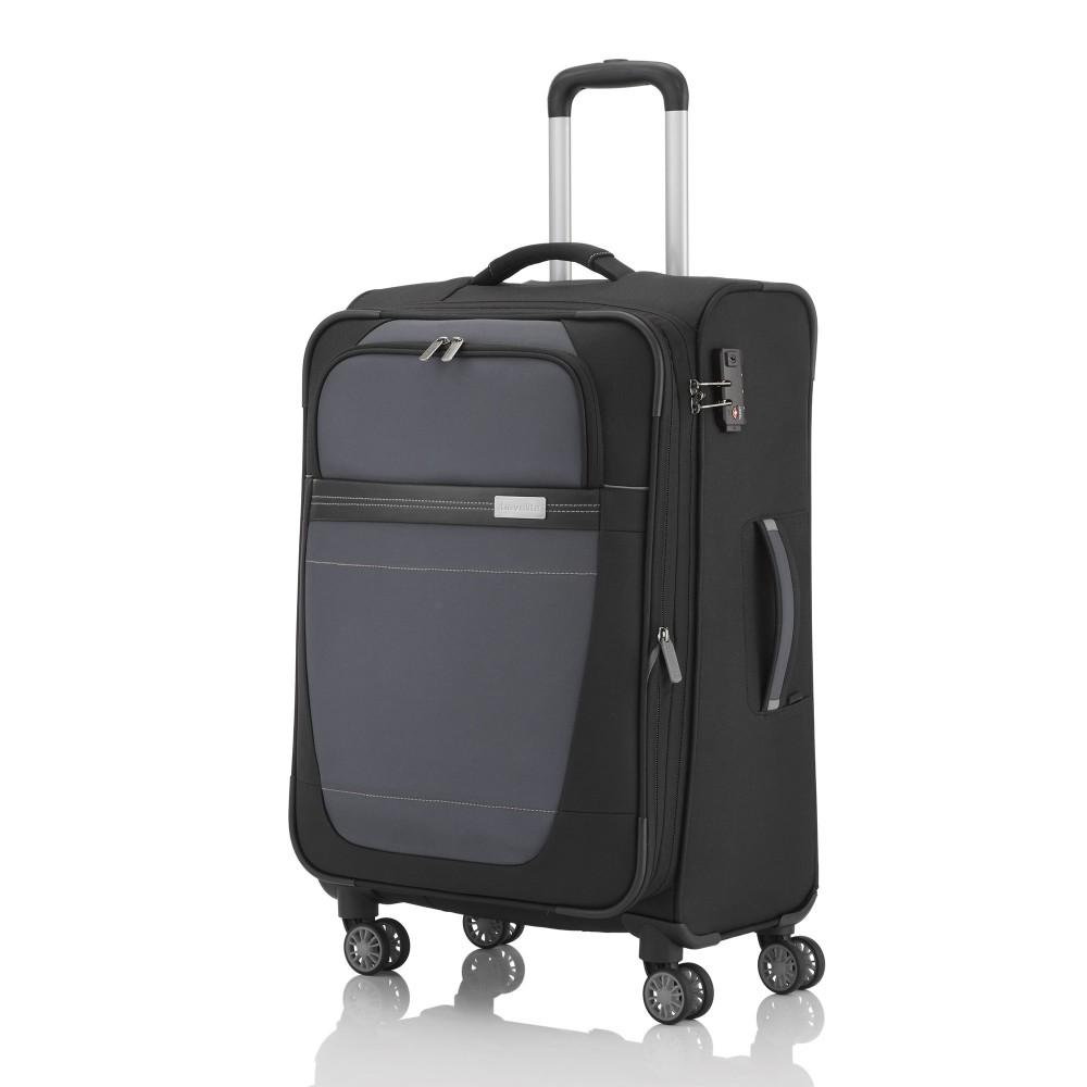 Travelite METEOR M fekete-szürke négykerekű bővíthető közepes bőrönd ... 648ca50d97