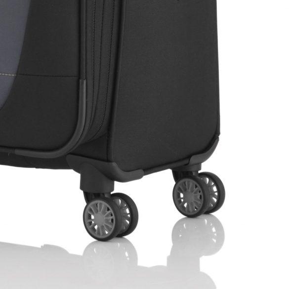 Bőrönd TRAVELITE Meteor M fekete-szürke 4 kerekű bővíthető közepes bőrönd