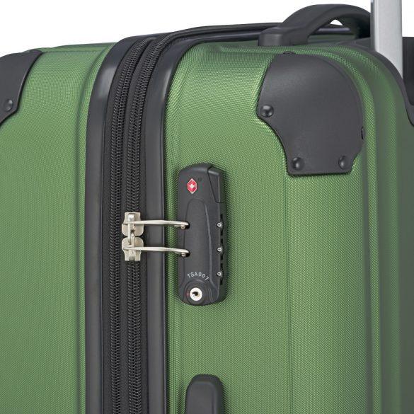 Bőrönd TRAVELITE City L zöld 4 kerekű bővíthető nagy méret