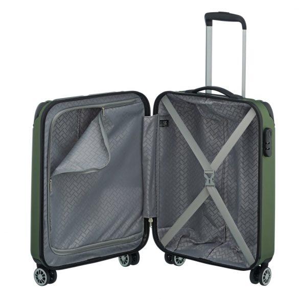 Bőrönd TRAVELITE City S zöld 4 kerekű kabin bőrönd