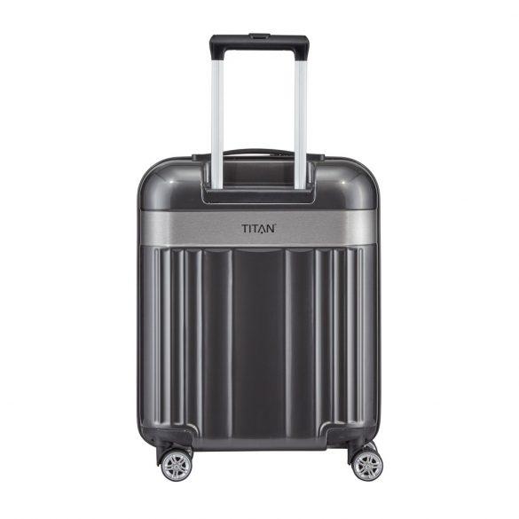 Bőrönd TITAN Spotlight Flash S antracit 4 kerekű kabin bőrönd