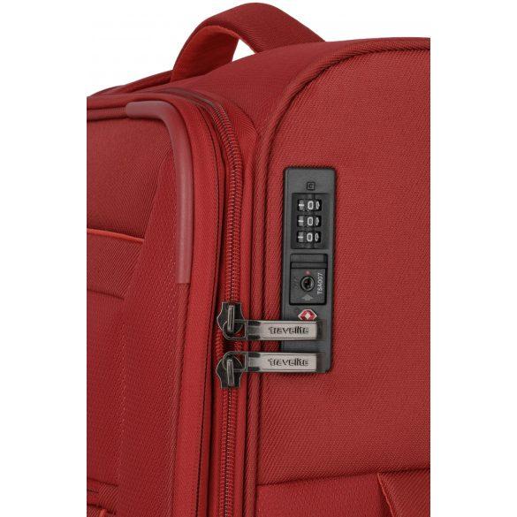 Bőrönd TRAVELITE Capri L piros 4 kerekű bővíthető nagy méret