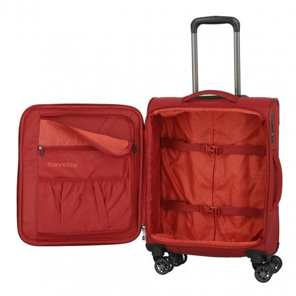 Bőrönd TRAVELITE Capri S piros 4 kerekű kabin méret