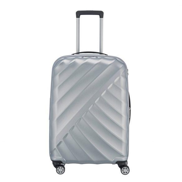 Bőrönd TITAN Shooting Star M ezüst 4 kerekű bővíthető közepes bőrönd