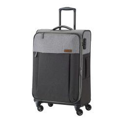 Travelite NEOPAK M antracit négykerekű bővíthető közepes bőrönd