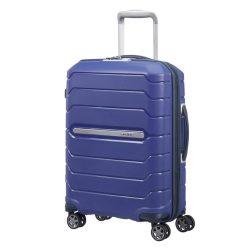 Samsonite Flux bővíthető spinner (4 kerék) 55cm kék kabin bőrönd