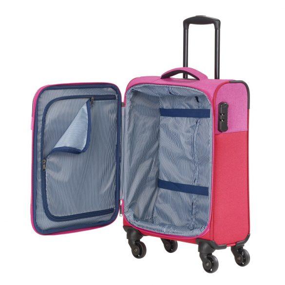 Bőrönd TRAVELITE Neopak S piros-pink 4 kerekű kabin méret