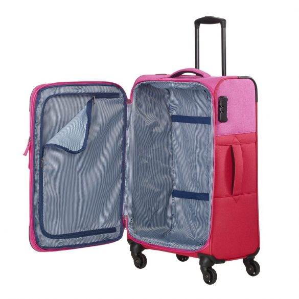 Bőrönd TRAVELITE Neopak M piros-pink 4 kerekű bővíthető közepes méret