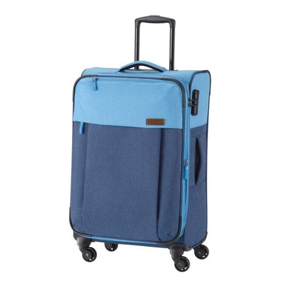 Travelite NEOPAK M kék négykerekű bővíthető közepes bőrönd