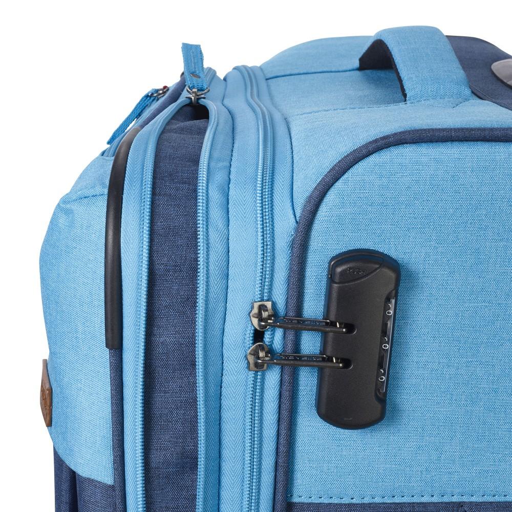 Travelite NEOPAK M kék négykerekű bővíthető közepes bőrönd ... 5f31ed236f