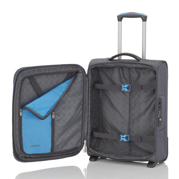 Travelite CROSSLITE S antracit 2 kerekű bővíthető kis kabin bőrönd