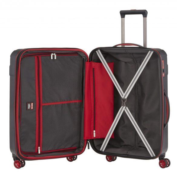 Bőrönd TRAVELITE Vector M fekete 4 kerekű bővíthető közepes