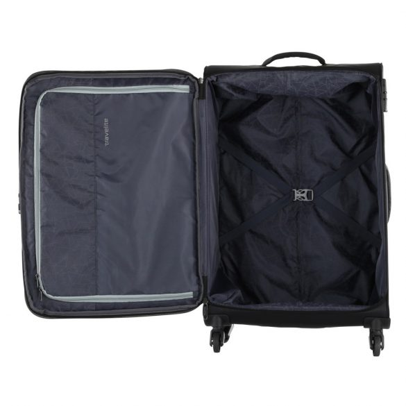 Travelite KITE L fekete négykerekű bővíthető nagy bőrönd