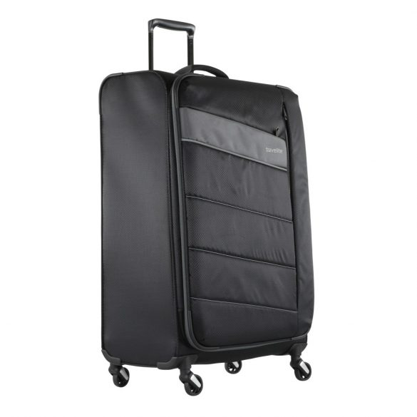 Bőrönd TRAVELITE Kite L fekete 4 kerekű bővíthető nagy méret