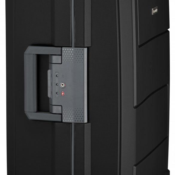Bőrönd TRAVELITE Makro M fekete 4 kerekű csatos közepes bőrönd