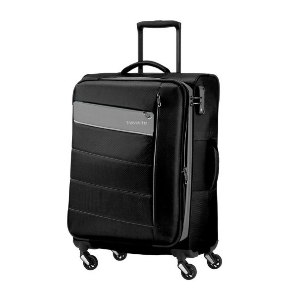Bőrönd TRAVELITE Kite M fekete 4 kerekű bővíthető közepes méret