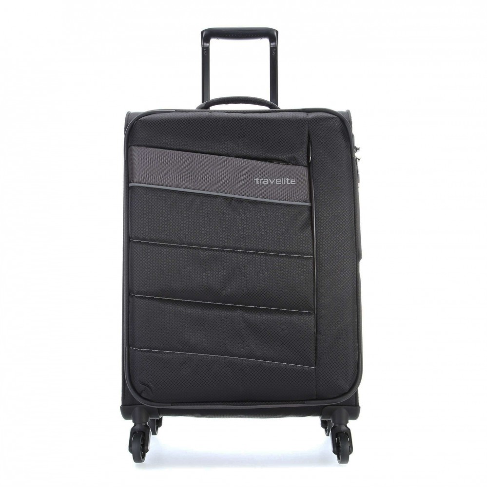 Travelite KITE M fekete négykerekű bővíthető közepes bőrönd ... 59252c446f