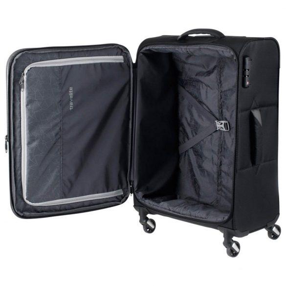 Travelite KITE M fekete négykerekű bővíthető közepes bőrönd