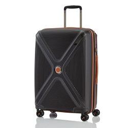 Titan PARADOXX M fekete 4 kerekű bővíthető közepes bőrönd