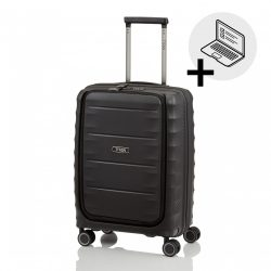 Bőrönd TITAN Highlight S fekete 4 kerekű laptoptartós kabin bőrönd