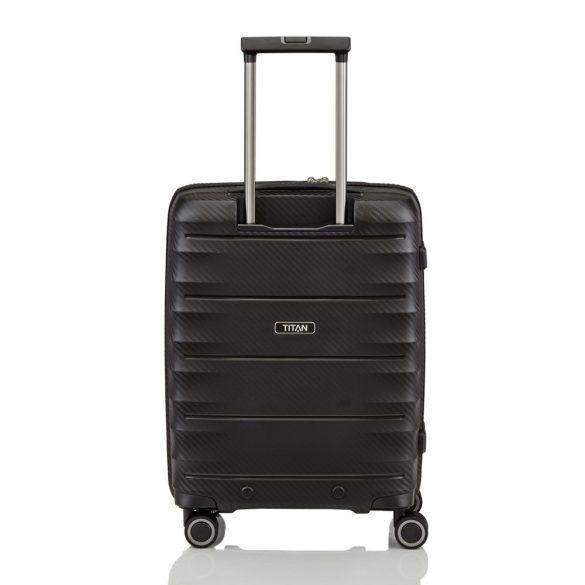 Bőrönd TITAN Highlight S fekete 4 kerekű laptoptartós kabin méret