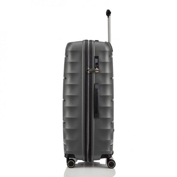 Bőrönd TITAN Highlight L antracit 4 kerekű nagy bőrönd
