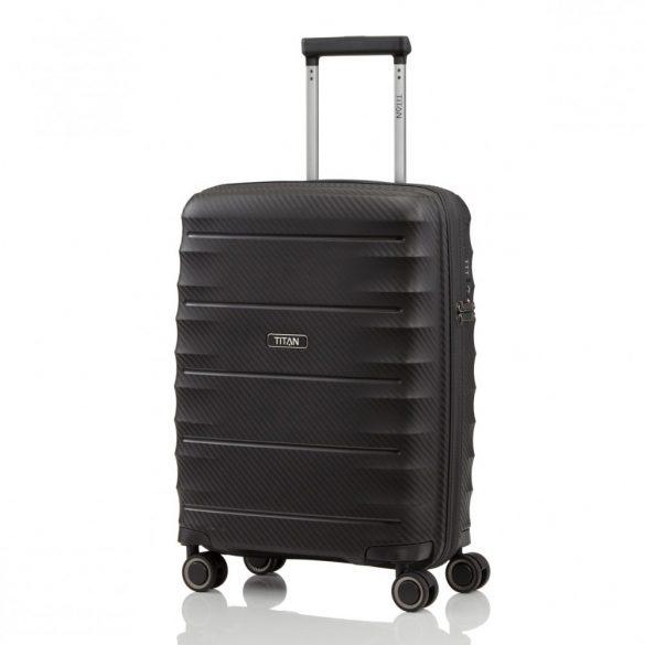 Bőrönd TITAN Highlight S fekete 4 kerekű extra könnyű kabin bőrönd