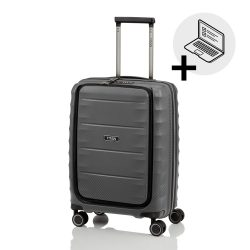 Bőrönd TITAN Highlight S antracit 4 kerekű laptoptartós kabin bőrönd