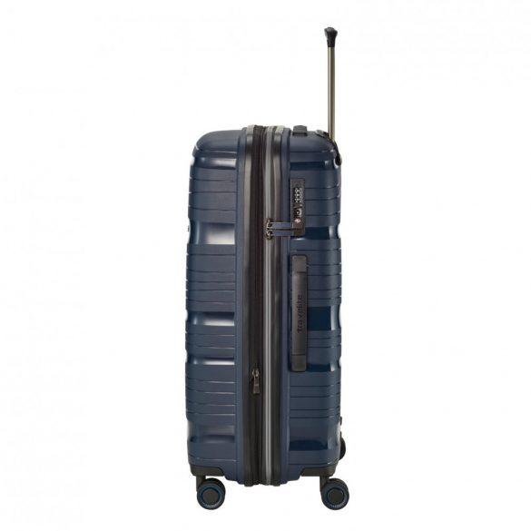 Bőrönd TRAVELITE Motion M kék 4 kerekű bővíthető közepes bőrönd