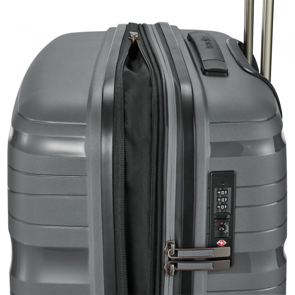 Travelite MOTION M antracit négykerekű bővíthető extra könnyű közepes bőrönd ed7e655d62