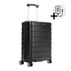 Bőrönd TRAVELITE Soho S fekete 4 kerekű kabin bőrönd USB csatlakozóval