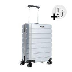 Bőrönd TRAVELITE Soho S ezüst 4 kerekű kabin bőrönd USB csatlakozóval