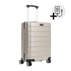 Bőrönd TRAVELITE Soho S pezsgő 4 kerekű kabin bőrönd USB csatlakozóval