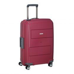 Bőrönd TRAVELITE Makro M piros 4 kerekű csatos közepes bőrönd