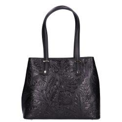 5708 fekete virágos Olasz bőr női táska