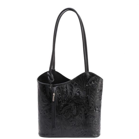 Táska OLASZ bőr 238 fekete virág Válltáska/Hátizsák