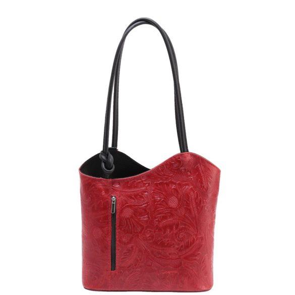 Táska OLASZ bőr 238 Piros Fekete virág Válltáska/Hátizsák