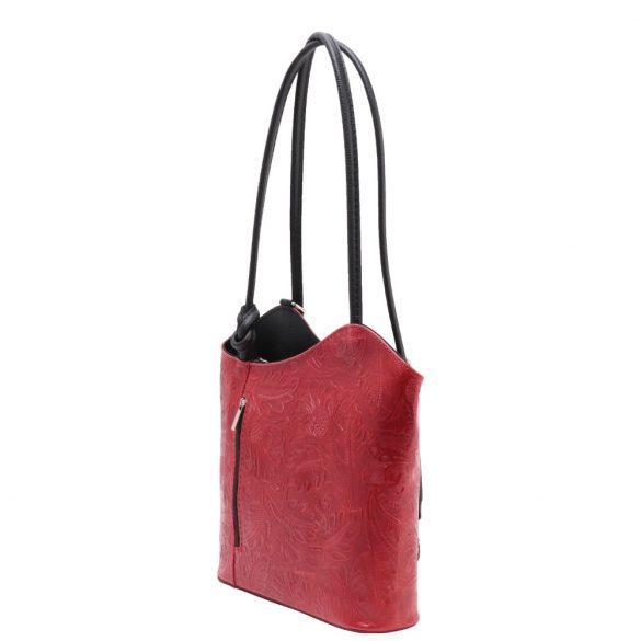 Táska OLASZ bőr 238 Piros virág Válltáska/Hátizsák