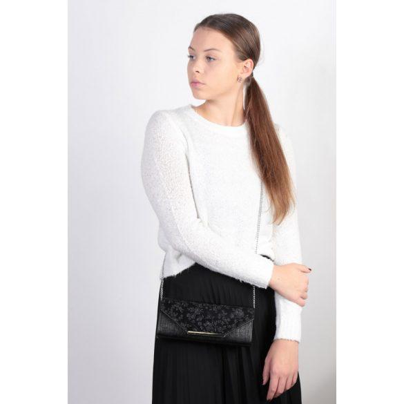 Táska KAREN 2196 Fekete virágos rostbőr